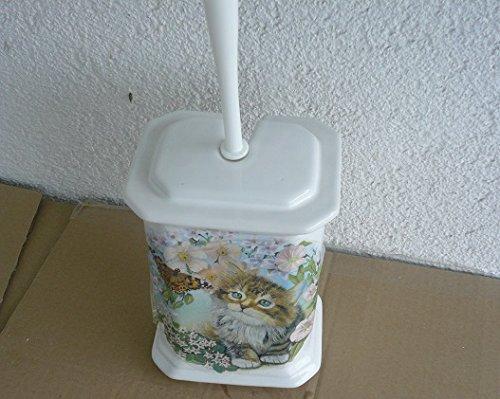 Toilettenbürstengarnitur aus Keramik eckig Dekor weiß mit Katze hergestellt in Deutschland