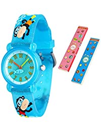 Toddler Kids Children Watch,3D Cute Cartoon Silicone Band Wristwatches Time Teacher Gifts Watches for Kids Girls Toddlers (Blue Swim Monkey)