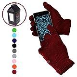 Guanti Touch Screen Tattili Invernali Capacitivi Morbidi - Unisex - Per Smartphone, Cellulari e Tablet - Confezione regalo inclusa! - ROSSO SCURO / BORDEAUX / GRANATA immagine