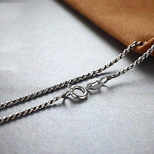925 Argent sterling thaïlandais argent corde tressée corde de chanvre collier rétro chaîne sauvage argent - diamètre 1.6mm 26 pouces 65CM