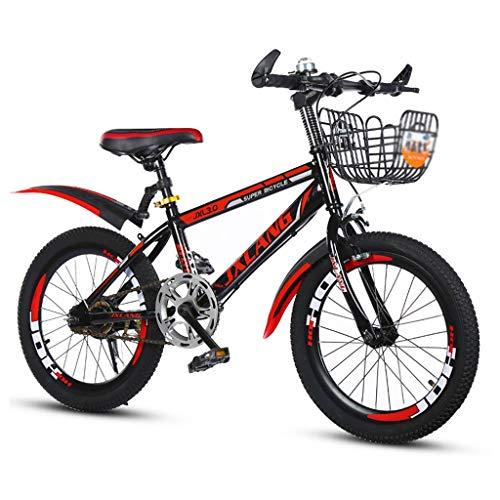 Stabilizzatori Bici Single Speed Bici Bici Bambino Ragazza Mountain Bike in Acciaio al Carbonio for Bici da Bambino con cestello (Color : Red, Size : 22inches)