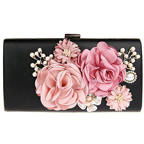 KAXIDY Elegant Abendtasche Blumen Clutch Abendtaschen Handtasche (Schwarz) -