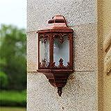 Wandleuchten im Freien Halb europäische wasserdichte Wandlampe Nachttischlampe Balkonwandlampe Außenlampe Balkongang Retro-Wandlampe Wohnzimmerwandlampe alter roter Anti-Rost, Korrosionsbeständigkeit