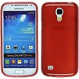 PhoneNatic Case für Samsung Galaxy S4 Mini Hülle Silikon rot brushed Cover Galaxy S4 Mini Tasche + 2 Schutzfolien