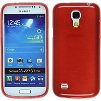 Funda de silicona para Samsung Galaxy S4 Mini - brushed rojo - Cover PhoneNatic Cubierta + protector de pantalla
