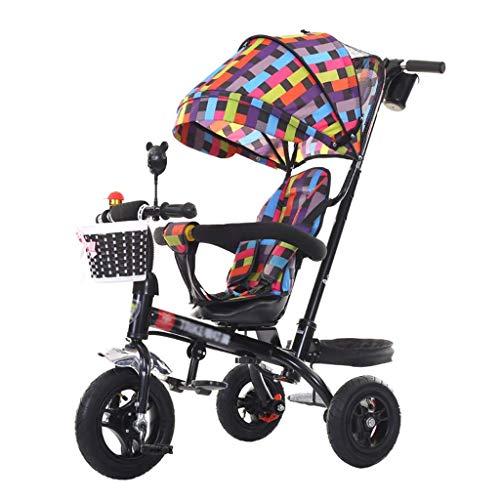 Kinderwagen 3-in-1-Kinderwagen Dreirad für 1-6-jährige Kinder Kinderwagen | Drehbarer Sitz | Kupplung | Sicherheitsgurt | Bremsen | Großer Ablagekorb