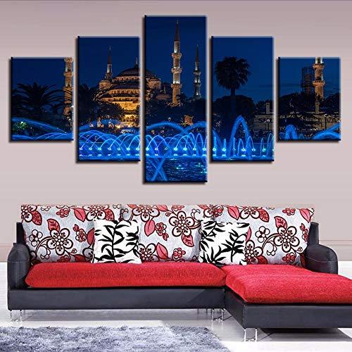 Cczxfcc living room decor modern prints opere d'arte 5 pezzi costruzione di fontane scena notturna dipinti su tela immagine modulare poster wall art-30x40/60/80cm-no frame