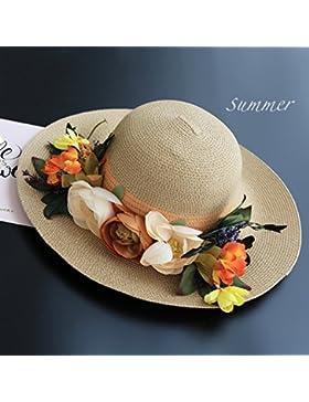 SituMi Señoras Verano sombrero para el sol Sombrero de Paja plegable disquete ala ancha playa grande,beige
