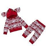Baywell Baby Jungen Mädchen Weihnachten Kleidung Set, Weihnachts-Outfit Set Tops + Hose (80/M/6-12 Monate, 2 Stück-Rot)
