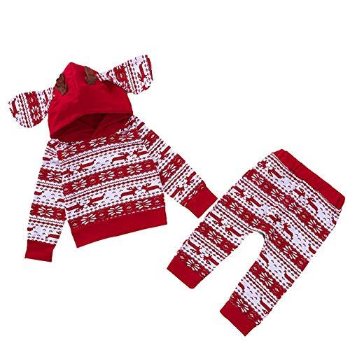 Baywell Baby Jungen Mädchen Weihnachten Kleidung Set, Weihnachts-Outfit Set Tops + Hose (70/S/0-6 Monate, 2 Stück-Rot) -