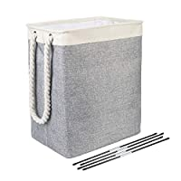 BrilliantJo Laundry Baskets, Collapsible Linen Laundry Hamper Washing Basket with Handles, Laundry bin suitable for Bedrooms Laundry Room, Bathroom Grey/Beige, 50 * 42 * 31cm, 65L