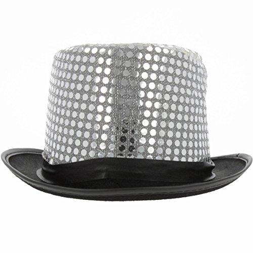 Funkelnder Zylinder Hut mit Pailletten, ideales Accessoires für den großen Auftritt (Silber)