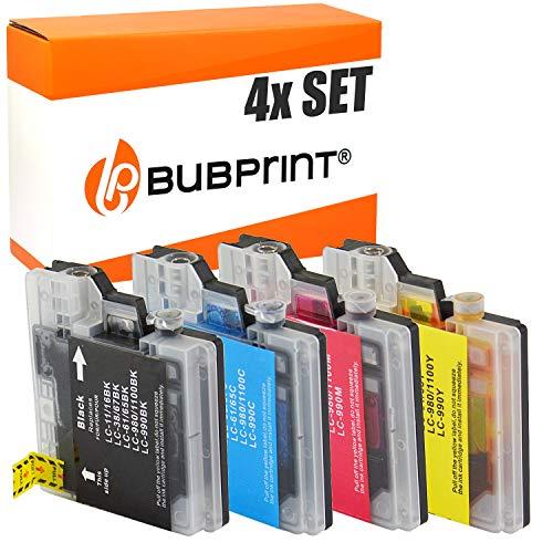 4 Bubprint Druckerpatronen kompatibel für Brother LC-1100 LC-980 für DCP-145C DCP-195C DCP-165C MFC-250C MFC-490CW MFC-5490CN MFC-5890CN MFC-6490CW -