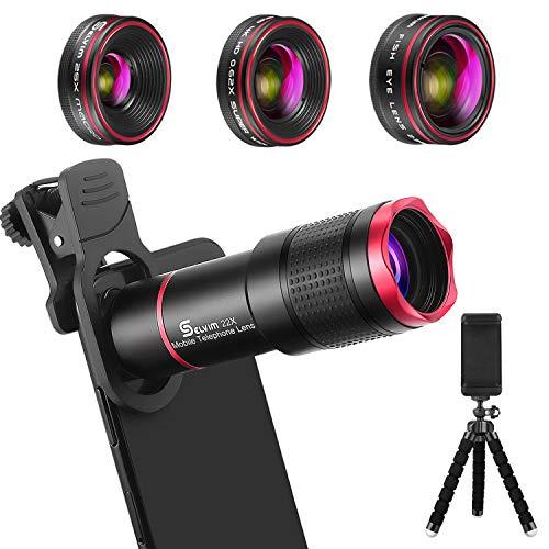 Selvim Objectif Smartphone Téléphone Caméra Lentille Portable Kit Caméra 22X Téléobjectif, 235° Fisheye, 25X Macro Objectif, 0.62X Objectif Grand Angle pour Plupart iPhone, Huawei, Samsung