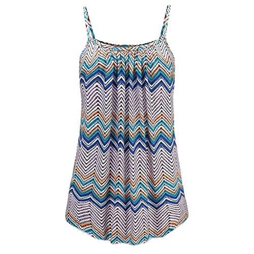 (KIMODO Damen Lose ärmellose Tank Top Geometrisches Muster Camisole Weste Plus Size T-Shirt Bluse Sommer Oberteile Große Größen)
