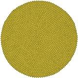 myfelt Malina Filzkugelteppich, rund, Schurwolle, gelb, Ø 50 cm