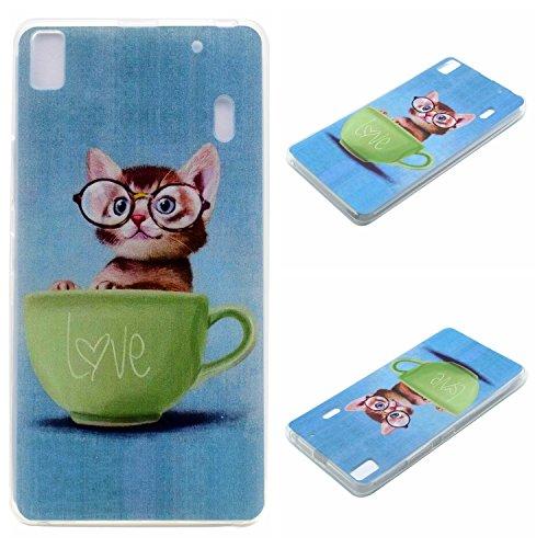 Qiaogle Teléfono Caso - Funda de TPU silicona Carcasa Case Cover para Lenovo K3 Note / K50-t5 4G LTE / A7000 (5.5 Pulgadas) - XX24 / Love Gato