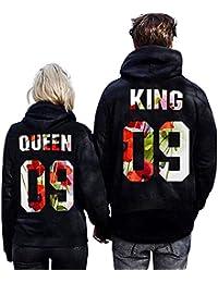 Minetom Loisirs Femme Homme Sweatshirt Sweat à Capuche Couple CLYDE    BONNIE 03 Impression QUEEN   KING 09 Col Rond Hoodies… f0e863f542ab