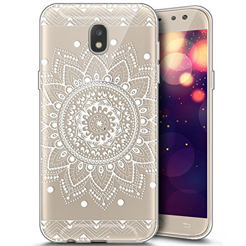 Price comparison product image for Samsung Galaxy J5 2017 Case,  Surakey Ultra Slim Thin Soft Clear Transparent TPU Silicone Gel Protector Case Cover Bumper Shell for Samsung Galaxy J5 2017 Cat Pony Mandala Cartoon Animal Pattern - White sunflowers