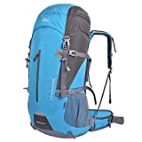 Oxking Travel Rucksack, Outdoor 70l 50l Hiking Backpack Waterproof Can Expand Large Nylon Bag(0806,Sky Blue)