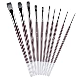 Tdbest Paint Brush Set, 10 Pcs Acrylic Paint Brushes Handmade Round Pointed Tip Nylon Hair Brushes for Oil, Watercolor, and Gouache Paintbrushes