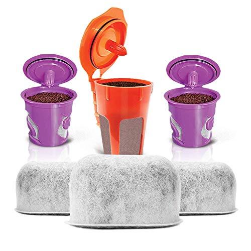 2wiederverwendbaren Kcups, 1wiederverwendbar Karaffe kcup und 3Ersatz anthrazit Wasser Filter von Housewares Lösungen für Keurig 2.0Brauen Systemen - Karaffe Filter Keurig