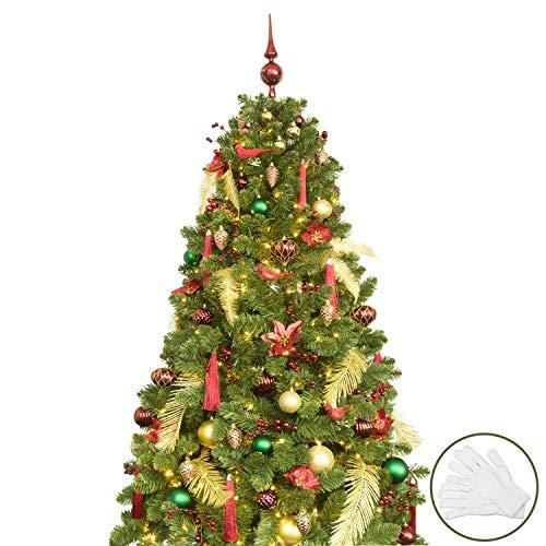Busybee albero di natale artificiale con set di ornamenti di decorazione (oro e borgogna, 180cm)