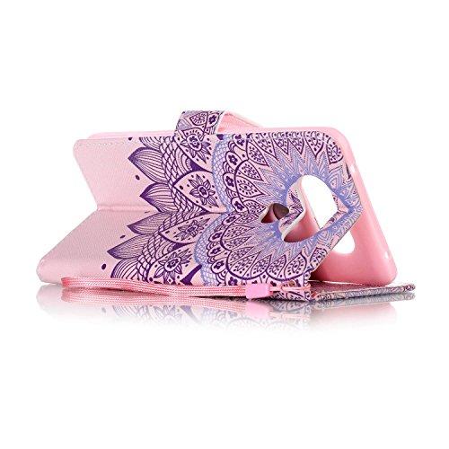 Feeltech LG V20 Hülle,LG V20 Magnet Leder Wallet Cover,Elegant Soft PU Kartenfach Extra Dünn Tasche Bunte Relife-Muster [Stand Funktion] Karte Halterung Klapp hülle Flip Book Design Case Flexible TPU  Stammes Mandala