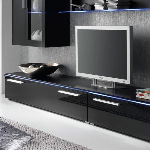 Anbauwand 6-tlg. Hochglanz schwarz, 2 x TV-Element, 2 x Hängevitrine, 2 x Glasbodenpaneel, Mindestbreite: ca. 300 cm, Tiefe: ca. 40 cm - 3