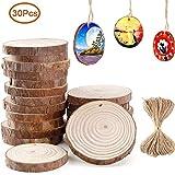 Ponangaga Natürliche Holzscheiben zum basteln 30 Stück, DIY Handwerk Dekoration Holz Scheiben mit Loch Tischdeko Hochzeits- und Weihnachtsdekoration mit 10M Jute Twine (6-7 cm)