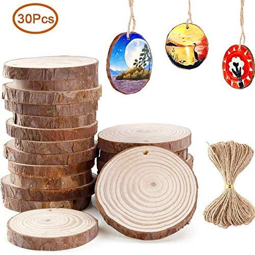 teln 30 Stück Baumscheiben, Natur DIY Handgemachte Handwerk Bemalen Dekoration Holz Scheiben mit Loch Tischdeko Hochzeits- und Weihnachtsdekoration mit 10M Jute Twine (6-7 cm) ()