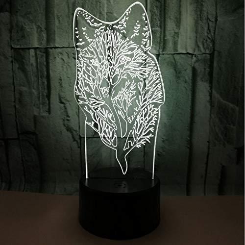 Ybhfc Souvenir Pubblicità Lupo Luce Di Notte 3D Animale Regalo Touch Telecomando Led Piccola Lampada Da Tavolo, Interruttore Touch + Telecomando