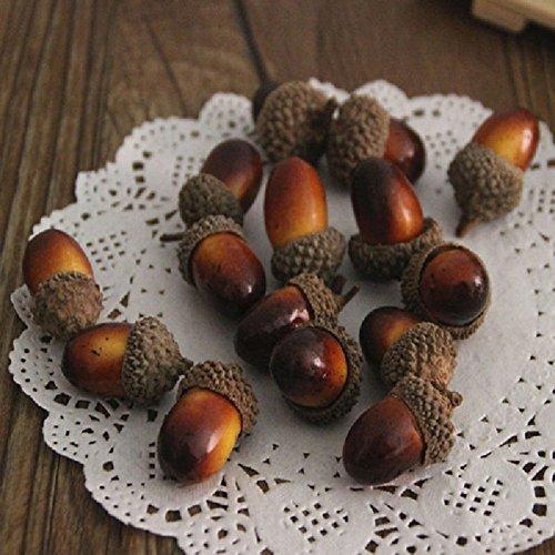 (baleba 20Künstlichen Eicheln zum Herbst Display Hochzeit Party Urlaub Miniatur Garden candy Boxen Tasche Venue decoratiat Craft DIY)