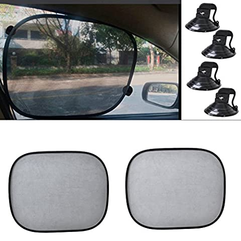 beler 2pcs Black Foldable Car Side Window Sunshade Sun Protection Screen Visor Shield Cover