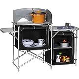 Berger Küchenbox Campingküche, schwarz/grau, Alu Gestell, 3 Staufächer, mit Windschutz und Tragetasche, Aufbau-Schrank