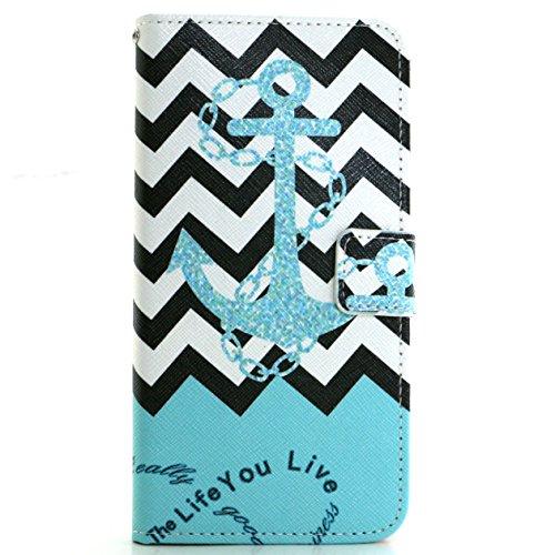 Voguecase® für Apple iPhone 7 4.7 hülle,(London Bus) Kunstleder Tasche PU Schutzhülle Tasche Leder Brieftasche Hülle Case Cover + Gratis Universal Eingabestift blauen Anker 01