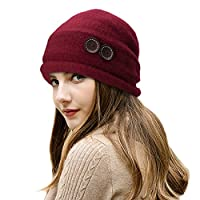 Lawliet Ladies Vintage Elegant Wool Cloche Hat Winter Warm Berets (Wine)(Size: One Size)