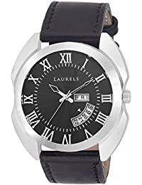 Laurels Black Color Day & Date Analog Men's Watch With Strap: LWM-INC-VII-020207