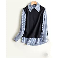 Blusas de mujer con rayas de moda anillo chaleco de algodón camisetas y chalecos de algodón,Azul de rayas,M