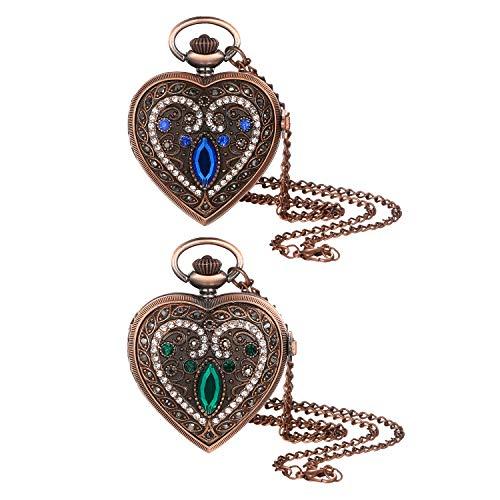 Lancardo Taschenuhr Vintage Strass Herz Medallion Analog Quarzuhr mit Halskette Kette Schmuck Geschenk für sie -
