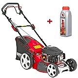 HECHT Benzin Rasenmäher 2,7 kW / 3,5 PS Motorleistung Radantrieb 43cm Schnittbreite 7-fach Schnitthöhenverstellung GT-Markengetriebe Mulchfunktion Lieferung inkl. Motoröl