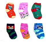 Light Gear Premium Cotton Woolen Mix Baby Boys / Girls Socks (6M to 5 Yrs) Pack of 6 Pairs ( Mix of 3 designs) (4-6 years, A)