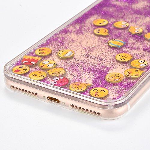 Voguecase Für Apple iPhone 7 4.7 Hülle, Flüssig Fließende Sparkly Bling Glitzer Treibsand Quicksand (Harte Rückseite) Hybrid Hybrid Hülle Soft Edge Schutzhülle Case Cover (Glühen/Treibsand/QQ Ausdruck Glühen/Treibsand/QQ Ausdruck 01/Lila