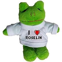 Rana de peluche (llavero) con Amo Roselin en la camiseta (nombre de pila