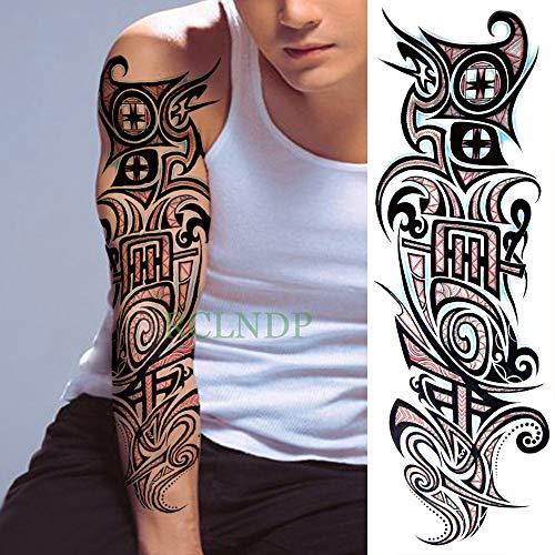 tzxdbh 3pcs-Impermeable de la Etiqueta engomada del Tatuaje Temporal del ala del ángulo Lobo Transversal Completa del Brazo Tatuajes Tatuajes de la Manga Tatoo para Hombres Mujeres 3Pcs