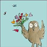Quentin Blake Lot de 8cartes vierges et enveloppes (wdm9161)–Motif Hibou et Fleurs–Idéal pour cartes de remerciement...
