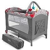 Froggy® Kinderreisebett Babybett mit Schlafunterlage, Matratze, Wickelauflage, Spielbogen, Transporttasche, höhenverstellbar, 120 x 60 cm in Grau