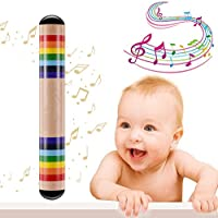 Palo de lluvia de madera, colorido juguete musical para introducir a los niños en el mundo de la música y el ritmo