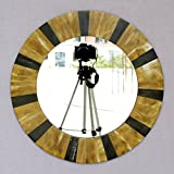 Craftter Round Yellow And Black Triangles Large Decorative Wall Mirror