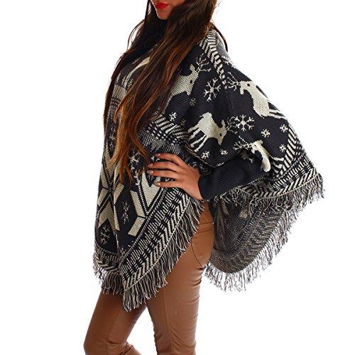 Ponchos für Damen mit schönen Design Renntiere Karo in verschiedenen Farben Anthrazit 002